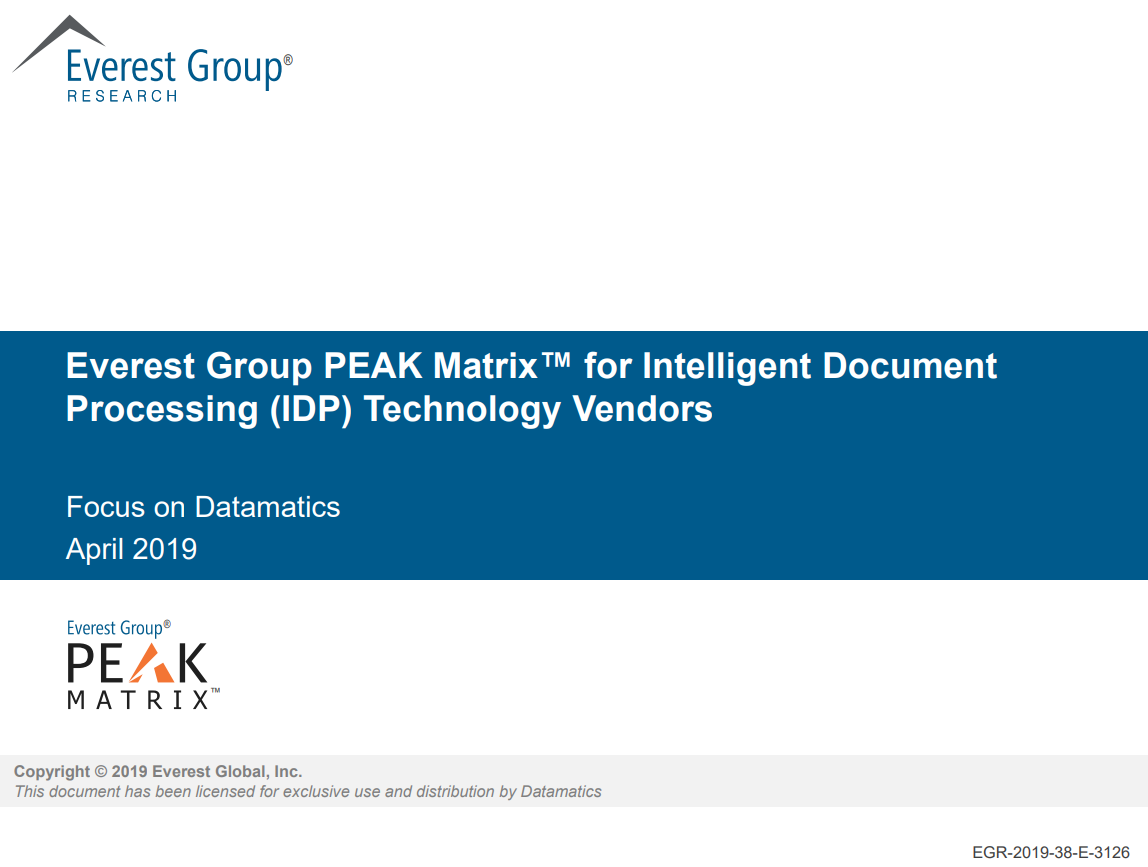 Everest Group Peak Matrix for Intelligent Document Processing (IDP) Technology Vendors