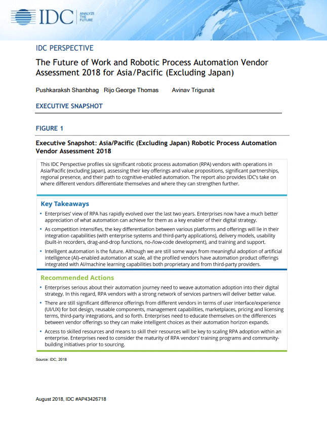 IDC report on RPA Vendor Assessment 2018 for APEJ-1
