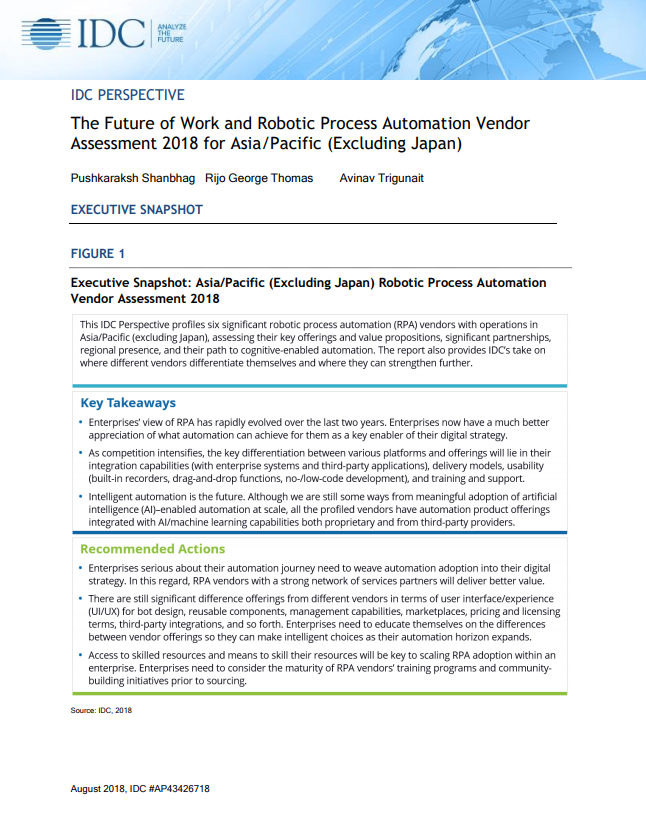 IDC report on RPA Vendor Assessment 2018 for APEJ